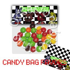 FNAF Candy Bag Favor Topper PRINTABLE - Party Birthday decor ...