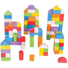 Bigjigs Toys Coloured Click Blocks   A collection of building blocks in assorted colours and shapes. These wooden blocks are the perfect size for little hands to grasp and stack on top of each other. They 'click' together firmly to create all sorts of building projects and can easily be detached to start a new design. Encourages creative play and development of fine motor skills. Consists of 100 play pieces.