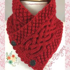 #cpromo Neckwarmer Irish Celtic KnotTrinity You choose Caron Simply. Made to order. This item takes 1-2 weeks to make depending on my backlog. Buttons will vary depending on stock. Please select from list your desired color.(Please contact me for current stock colors as the colors may shift). Very intricately knit Irish Trinity Stitch Celtic Knot Neck Warmer is in a warm beautiful using Caron Simply Soft and Stunning Vintage Celtic style buttons in a gunmetal dark gray color. This was…