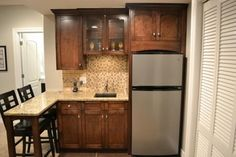 Small Kitchen Remodeling Basement Kitchenette Design Ideas, Pictures, Remodel, and Decor - page 18 - Small Basement Kitchen, Small Basement Bars, Wet Bar Basement, Small Basement Remodel, Basement Bar Designs, Basement Layout, Basement Renovations, Home Remodeling, Basement Bathroom