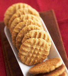 Soft and chewy Peanut Butter Cookies! Get the recipe here: http://www.bhg.com/recipe/cookies/classic-peanut-butter-cookies/?socsrc=bhgpin042312peanutbuttercookies