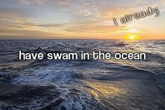I have, but I'm not a huge fan of actually swimming in it. I prefer lying in the sand next to it listening to the sound of the waves and watching the sun go down. Unless there are manatees in the ocean, then I'm all up in that ;)