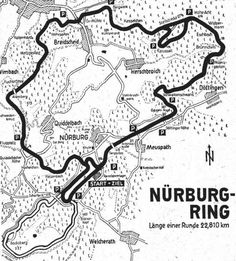 """Map of the Track before 1970. The black line ist the """"Nordschleife"""", the white line is the """"Südschleife"""", an almost forgotten Part of the Nürburgring, that was almost completely erased when the new Grand Prix circuit was built in 1984."""