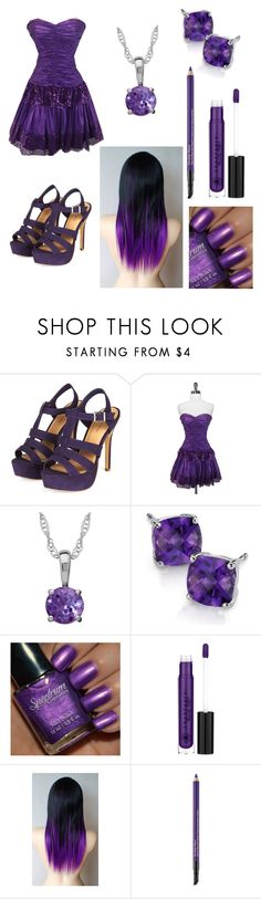 """""""Purple Prom."""" by donna-bender ❤ liked on Polyvore featuring Betsey Johnson, Blue Nile, Anastasia Beverly Hills and Estée Lauder"""