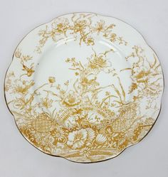 Antique porcelain plate aesthetic floral orange floral Wileman early Shelley 7in #AestheticMovement #Wileman