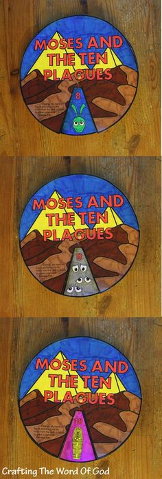 X is for Exodus: Use this wheel to help your kids learn the 10 plagues of Egypt. When Pharaoh does not listen to you, then I will lay My hand on Egypt and bring out My hosts, My people the sons of Israel, from t. Bible Story Crafts, Bible School Crafts, Preschool Bible, Bible Activities, Church Activities, Bible Stories, Kids Bible Crafts, Creation Bible Crafts, Faith Crafts