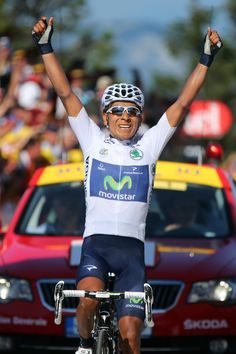 ANNECY, FRANCE - JULY 20: Best young rider Nairo Quintana of Colombia and Movistar Team celebrates winning stage twenty of the 2013 Tour de France, a 125KM road stage from Annecy to Annecy-Semnoz, on July 20, 2013 in Annecy, France. (Photo by Bryn Lennon/Getty Images)