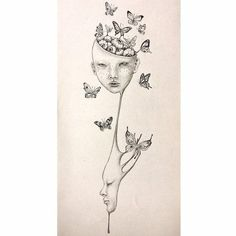 Linggo surreal girl with draping face drawing fantasy art pop surrealism hand Wall Art Wall Decor Art Poster butterfly illustration brain dr Weird Drawings, Dark Drawings, Art Drawings For Kids, Horse Drawings, Drawing Faces, Drawing Art, Drawing Ideas, Butterfly Illustration, Butterfly Drawing