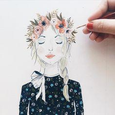 Finish this gal. Basically how I would like to dress everyday  | #illustration #gouache #fashion #fashionillustration #painted #floralprint