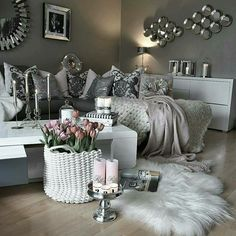 """Check my other """"home decor ideas"""" videos fancy living rooms, living room decor Living Room Grey, Home And Living, Living Room Decor, Living Spaces, Bedroom Decor, Living Rooms, Decor Room, Bedroom Ideas, Living Room Inspiration"""