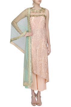 Peach embroidered A line kurta and palazzo pants set available only at Pernia's Pop Up Shop.
