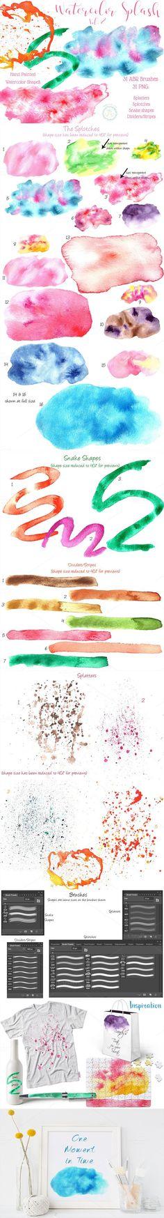 Watercolor Splash Shapes Brushes  . Photoshop Shapes. $8.00