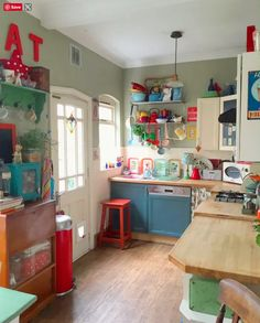 Vintage Kitchen Love the painted dishwasher! …that with small additions over time has become a colorful expression of the family's personality. Life Kitchen, Boho Kitchen, Rustic Kitchen, New Kitchen, Vintage Kitchen, Kitchen Decor, Kitchen Paint, Whimsical Kitchen, Happy Kitchen