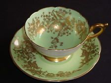 Coalport Minty Green and Heavy Gold Cup and Saucer