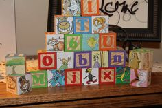 Using old book and blocks...create Some SUESS-i-fied blocks!  Made them for a baby shower!