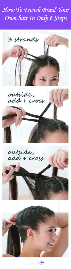 Fancy French braids? Want to know how to french braid your hair? French braids are very easy to do on someone else's hair but can be tricky when an attempt to do on your own because you won't be able to see anything, so it is a bit tricky. French braids tutorial, French braids step by step, French braids short hair, French braids black hair. #howtofrenchbraid