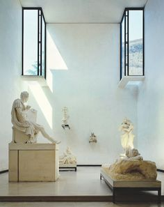 At the Museo Canova in Possagno, windows are cut away from the walls as skylights.