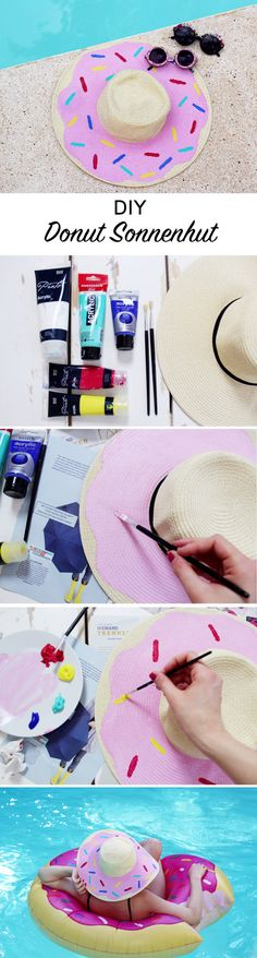 DIY Sonnenhut mit Donut-Print verzieren- Sommerliches DIY für den perfekten Strand Urlaub!
