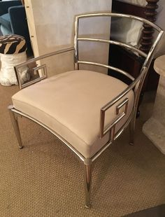 Greek Key Solid Nickel Chair with Cotton Seat  One Available in New York
