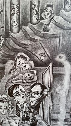 Amsterdam Outsider Kunst - Psychose Droom (van Mies van der Perk) - Grafiet Potlood tekening