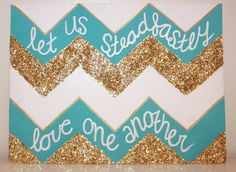 Quote Canvas Let Us Steadfastly Love one Another  Tri by AbiMariah, $25.00