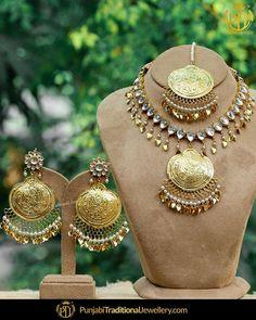 Gold Jewelry For Brides Info: 3031986694 Indian Wedding Jewelry, Bridal Jewelry, Indian Jewelry, Gold Fashion, Fashion Jewelry, Gold Jewelry Simple, Gold Jewellery, Punjabi Traditional Jewellery, Jewelry Branding