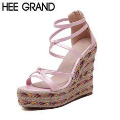 HEE GRAND Woman Sandals 2017 Summer Hemp Wedge Super High Heels Zip Narrow Band Knot Platform Shoes Woman Size 341-39 XWZ3747
