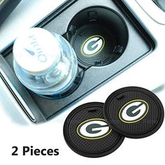 2 Pack inch for Green Bay Packers Car Interior Accessories Anti Slip Cup Mat for All Vehicles (Green Bay Packers)