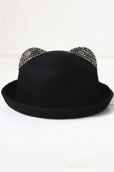 Rhinestone Embellished Cat Ear Bowler $30 - not sure how my HUGE head would handle it, but I find this really cute =)