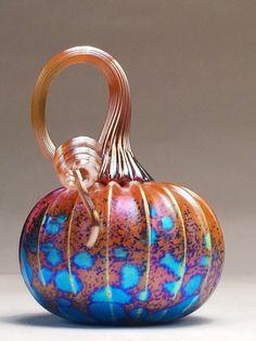 Jack Pine Hand Blown Glass Pumpkin Small Rainbow