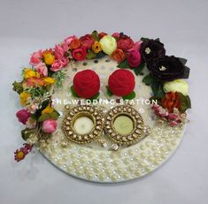 Station deals in- *Wedding planning and event planning *Decorators and Caterers *Best in class. Paper Flowers Craft, Flower Crafts, Paper Crafts, Wedding Crafts, Wedding Art, Engagement Decorations, Wedding Decorations, Karwa Chauth Gift, Engagement Ring Platter