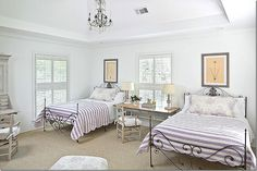bedroom – so perfect in lilac and white with French iron beds
