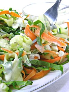 Raw Food Recipes - Mediterranean Yogurt Dressing with Cucumber & Carrot Ribbons