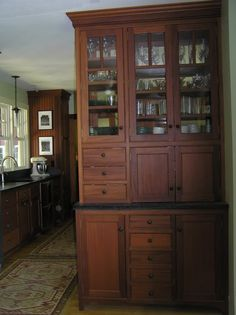 Built in hutch Built In Hutch, Hutch Ideas, China Cabinets, Buffets, Craftsman, Microwave, Kitchens, New Homes, Tower