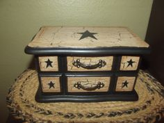 Primitive Crackle Wood Jewelry Box ~ Black Stars ~ Country Farm Decor #NaivePrimitive