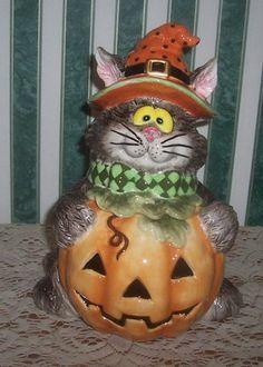 *FITZ & FLOYD ~ Scaredy Cat Cookie Jar Halloween Item 658/111 Unique & Fun Boo! | eBay