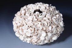 White Ceramic Flower Art Vase   Decorative  by WhiteEarthStudio