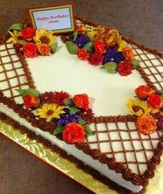 ideas cake decorating fall for 2019 Fall Theme Cakes, Fall Birthday Cakes, Birthday Cake With Flowers, Birthday Sheet Cakes, Fall Cakes, Themed Cakes, 70th Birthday, Flower Birthday, Torta Minion