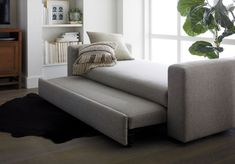 To keep Eclipse's bench-style cushion looking fresh, simply smooth fabric from the middle toward either end and tuck. The Eclipse Sleeper Daybed is a Crate and Barrel exclusive. Nursery Daybed, Daybed Room, Daybed Bedding, Small Living Room Furniture, Sofa Furniture, Living Room Decor, Antique Furniture, Painted Furniture, Sleeper Sofa Mattress