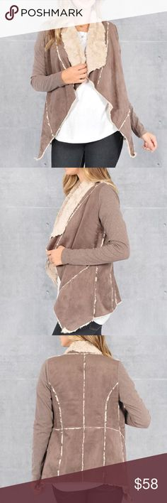 """""""Carpe Diem"""" Shearling Lined Faux Suede Jacket Faux suede shearling lined jacket. Soft and cozy for cooler days and nights. Available in brown and tan. This listing is for the TAN. Brand new. True to size. PRICE FIRM. NO TRADES. Bare Anthology Jackets & Coats"""