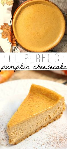 Pumpkin cheesecake is silky sweet smooth and everything that is right in the world. This is a total fall no-brainer and the perfect addition to any meal. Single Serve Desserts, Desserts For A Crowd, Great Desserts, Köstliche Desserts, Delicious Desserts, Dessert Recipes, Health Desserts, Recipes Dinner, Breakfast Recipes