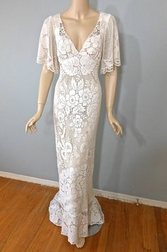Boho WEDDING Dress Empire Waist Crochet LACE by MuseClothing