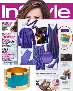 (Jan 2012) InStyle Magazine: Warm up bluish tones, like teal & dark grape, with gold accessories such as the CC Skye Enamel Hinge Cuff on page 69.