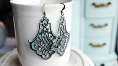 Earrings Turquoise patina brass filigree by VerdigrisGifts on Etsy