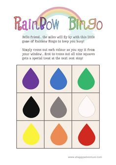Rainbow Bingo - a fun road trip game for pre-readers... (includes printable)