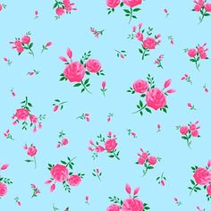 Popular blue English Rose retro wallpaper
