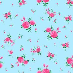 Popular blue English Rose retro wallpaper