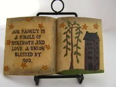 Open Book Family Circle Love Resin Blossom Bucket Primitive Rustic Country Decor