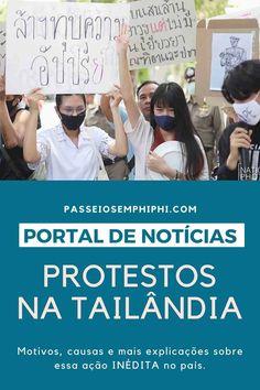 Saiba tudo a respeito dos protestos que esão acontecendo na Tailândia desde 2020. Os protestantes lutam contra a monarquia e diversos direitos e leis ultrapassadas. Notícias sobre a Tailândia além do turismo. Com atualidades do que está acontecendo no país. Saiba tudo que está acontecendo na Tailândia com nossas notícias em português sobre o país. Atualizamos as novidades com informações de sites oficiais para te manter informado. #tailandia #thailand #coronavirus #thailandia Krabi, Chiang Mai, Phuket, Bangkok, Sites, Leis, Respect, Travel Tips, City