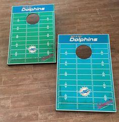 Miami Dolphins Cornhole NFL Team Bean Bag Tailgate Toss Corn Hole Boards #TailgateToss